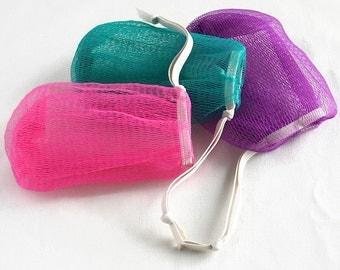 Mesh Soap Sack, Soap Saver, Soft Soap Scrubbie, Reusable, Refillable, Soft Scrubber, Exfoliating Mesh Bag, Soap Bag, Pink, Teal, Purple