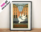 ORIENT EXPRESS POSTER: Vintage Paris Londres Veneza Simplon Train Art Print Tapeçaria, Brown