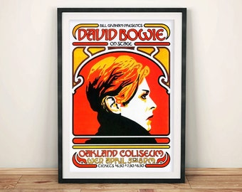 DAVID BOWIE POSTER: Vintage Concert Poster Reproduction, Rock Gig Art Print Wall Hanging
