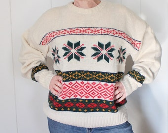 Vintage Ski Sweater - Nordic Sweater - Christmas Sweater - London Fog -  Wool - Mens Ski Sweater - Vintage Mens Sweater - Snowflake