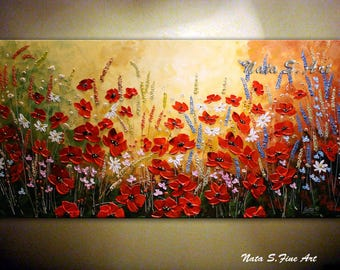 Wildflower Textured Painting Abstract Acrylic Artwork Contemporary Poppy Art Landscape Painting Original Wildfield MADE to ORDER  by Nata S.