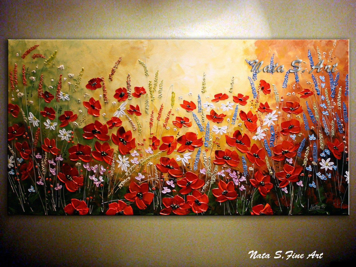 Wildflower textured painting abstract acrylic artwork for Textured acrylic abstract paintings