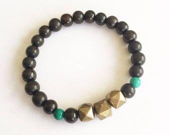 Boho Brass, Turquoise & Wood Bracelet Stacker