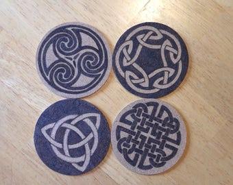 Wood burned Cork Celtic Coasters