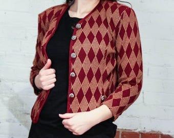 Vintage 1980s Diamond Pattern Cropped Cardigan Jacket / Size Medium