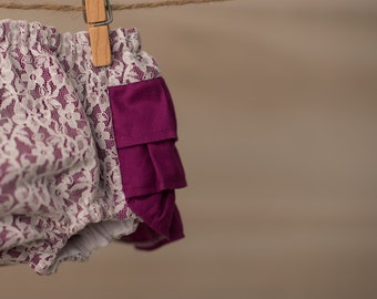 Baby Girl Bloomer-Christmas Bloomer-Vintage baby-lace bloomer-fuscia lace ruffle diaper cover-