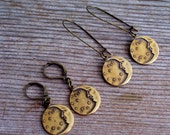 Celestial Earrings, Art Deco Moon and Stars Earrings, Antiqued Brass Celestial Earrings, Brass Moon Earrings, Pierced Dangle Earrings