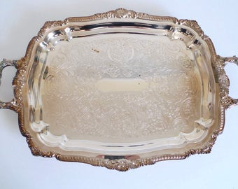 Large Silver Plate Butler's Tray - Lancaster Rose Poole Serving Tray with Handles - Bohemian Chic Tray - Barware Bar Tray - Waiter's Tray