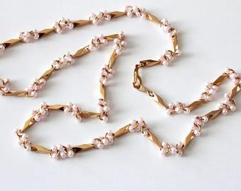 RESERVED //  Vintage unsigned Marvella  Goldtone  Faux Pearl necklace #1075