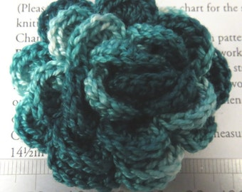 Irish crochet flower brooch in variegated green