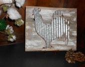 """Corrugated Metal Rooster on 12""""x 10"""" on Rustic, Reclaimed Wood"""