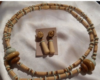 Holiday Sale Avon Indian Summer Long Plastic Bead Necklace and Matching Dangle Earrings Neutral Colors
