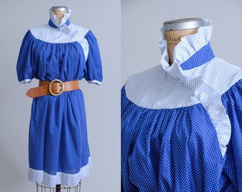 70s Polka Dot Blue & White Full Ruffle Collar Babydoll Dress