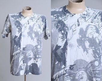 90s Bob Marley All Over Print Balzout Bob Marley Brand Black and White T Shirt