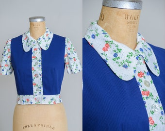 70s Floral Crop Blouse Navy Blue Button Down Roller Girl Top