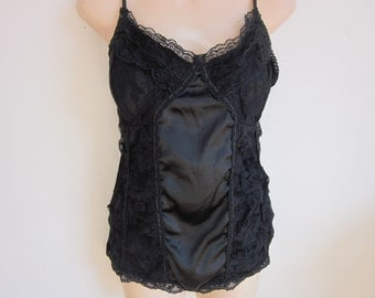 Black lace slip camisole cami  built in bra sexy  lingerie sz. XL