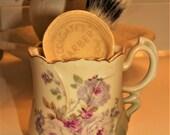 Antique Nippon Porcelain Floral Scuttle Shaving Mug + West Germany Sterilized Pure Bristles Wood Brush + Barber Shaving Soap