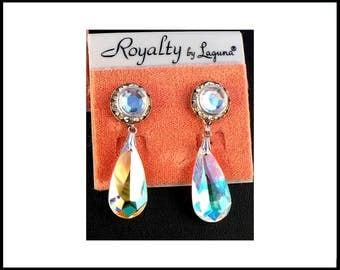 Long AB Crystal Teardrop & Rhinestone Earrings, Aurora Borealis, Lucite Rivoli, Pierced Earrings, Shoulder Dusters, Graduation Gift For Her