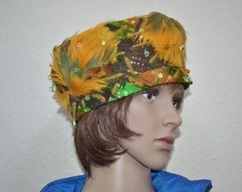 Vintage 60s womens hat Eco Fashion fabric feather green mustard fascinator hat with glass stones  May D F Made in USA party mid century hat