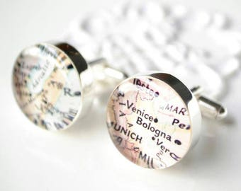 personalized map cufflinks - wedding accessories for the groom and groomsmen