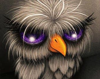 ORIGINAL PAINTING Gothic Fantasy Lowbrow Big Eye Owl Bird Cute Animal Whimsical Pop Surrealism Contemporary Canadian Art Natalie VonRaven