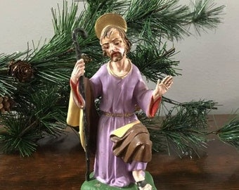 Joseph Nativity Statue  ~ Replacement Plaster Figure for Vintage Nativity Set