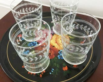 Vintage 1960's Etched Tumblers / Set of 4 Glasses