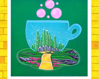 Fine art Paper Print, Dorothy Painting, Emerald Painting, Good Witch Painting, Yellow Brick painting,