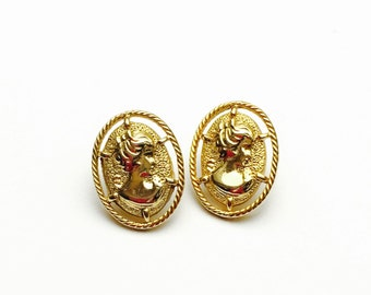 Cameo Clip On Earrings, Gold Tone,  Art Deco Design, Clearance Sale, Item No. B104