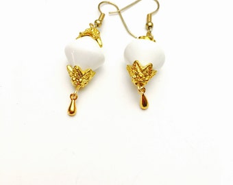 White Bead Earrings, Gold tone, Art deco, Vintage Inspired, pre Holiday Sale, Item No. B618
