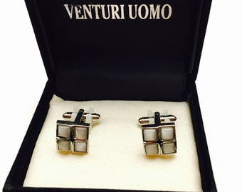 Vintage Venturi Uomo Cuff LInks, silver tone, mother of pearl, Masculine Gift, mint condition, Clearance Sale, Item No. M005