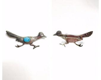 Vintage road runner Brooch, silver, turquoise, Tribal, navajo design, Item No. S090