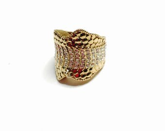 Vintage Doris Pano Gold over silver ring size 6., Stamped, clear CZ, item no. B431