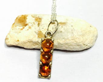 Vintage Amber pendant/Necklace  Silver & plated, Antique design, item No S742