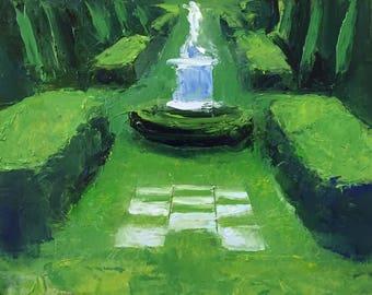 "Original 6.5"" x 8"" oil painting, work on paper of formal garden, landscape painting, alla prima representational fine art."