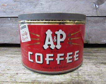 Vintage Tin Coffee Can A&P Coffee Atlantic Pacific Red Kitchen Metal Tin Storage Display Country Farm Retro Kitchen Rustic Primitive Vtg Old