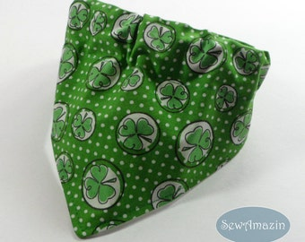 Shamrocks and Polka Dots St Patricks Dog Bandana, Collar Slipcover Dog Bandana, Medium