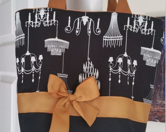Classic Black & White Shabby French Chandelier Crystal Purse Tote BAG or Diaperbag