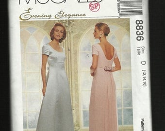 15% OFF SPRING SALE McCalls 8836 Evening Dress with Princess Seam High Low Waistline and Detachable Train Sizes 12-14-16 Uncut