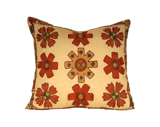 Handmade Suzani Pillow Cover msp12-38a, Suzani Pillow, Uzbek Suzani, Suzani Throw, Boho Pillow, Suzani, Decorative pillows, Accent pillows