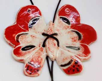 Butterfly pendant , Porcelain hand painted  red butterfly .