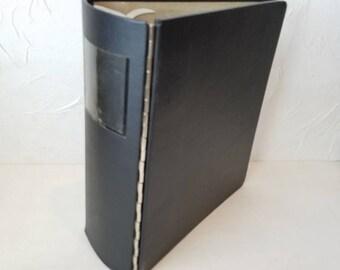 Vintage Three Ring Binder - Rogers Binder- Metal Piano Hinge Binder - Office Supplies - Black 1960s Binder - Office Organization - XL