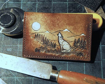 Groom Gift, Father's Day, Graduation, Anniversary , Leather Credit Card Case, Lone Wolf howling at the moon, carry cards and folded cash.
