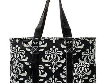 Personalized Utility Tote, Damask Print Tote, Embroidered Tote, Carry All Tote Bag, Tote Organizer