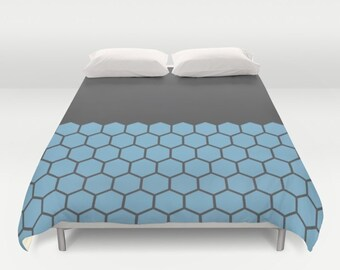 9 colours, Hexagon Honeycomb Half Pattern Duvet Cover, Dusk Blue, Minimalist duvet, double duvet, king duvet cover, queen duvet cover