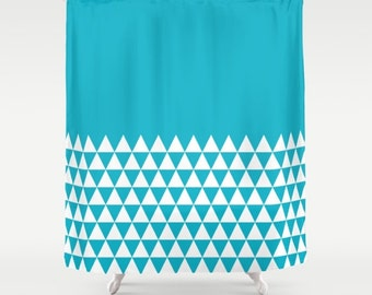 36 colours, Geometric Triangles Half Pattern Shower Curtain, bathroom shower curtains, Scuba Blue and white triangles bathroom decor