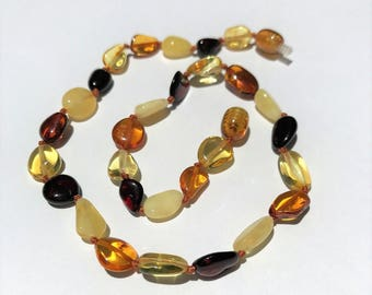 "GENUINE Baltic Amber Baby Teething Necklace - Multicolored Baltic Amber Beads- (12-13"")"