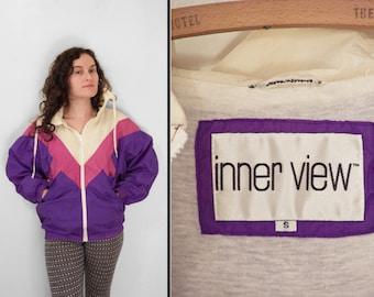 Inner View WINDBREAKER Jacket 1980s Zip Up Purple Pink + Cream Unisex Size Medium