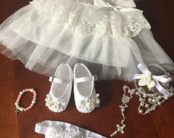 New Born Baptism set, Baptism Dress, New born dress,  new born Christening dress set, baptism shoes, tule dress