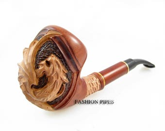 "Exclusive Tobacco Pipe ""DRAGON"" Pipe Smoking Pipe Engraved. The Best Gift Handcrafted & POUCH, Limited Edition"